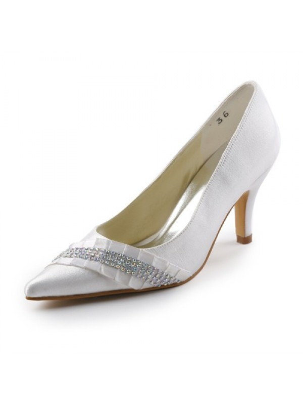 Women's Satin Stiletto Heel Pointed toe With Rhinestone White Wedding Shoes