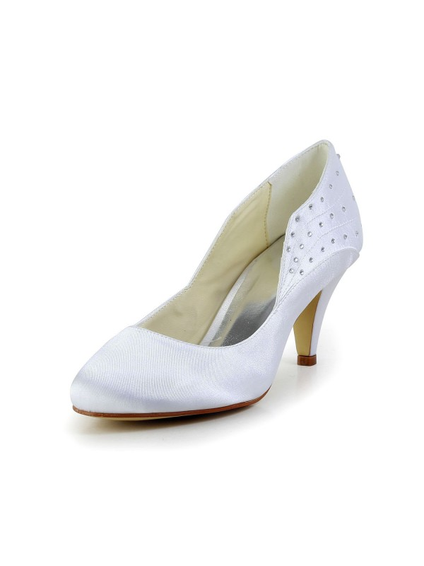 Women's Simple Satin Closed Toe Cone Heel White Wedding Shoes With Rhinestone