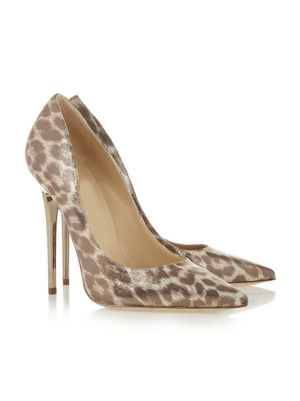 Women's Patent Leather Closed Toe Stiletto Heel With Leopard Print High Heels