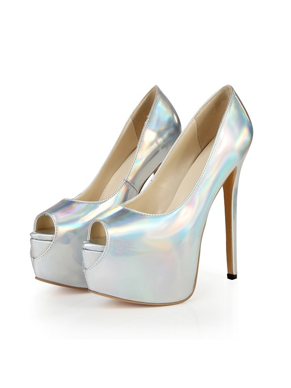 Women's Peep Toe Platform Patent Leather Stiletto Heel Platforms Shoes