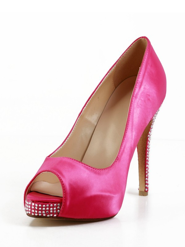 Women's Stiletto Heel Silk Peep Toe Platform With Rhinestone Platforms Shoes