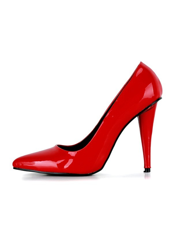Women's Cone Heel Patent Leather Closed Toe High Heels