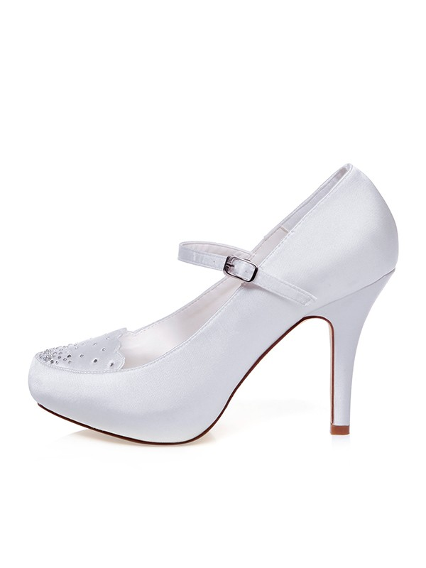 Women's Satin Closed Toe Buckle Stiletto Heel Wedding Shoes