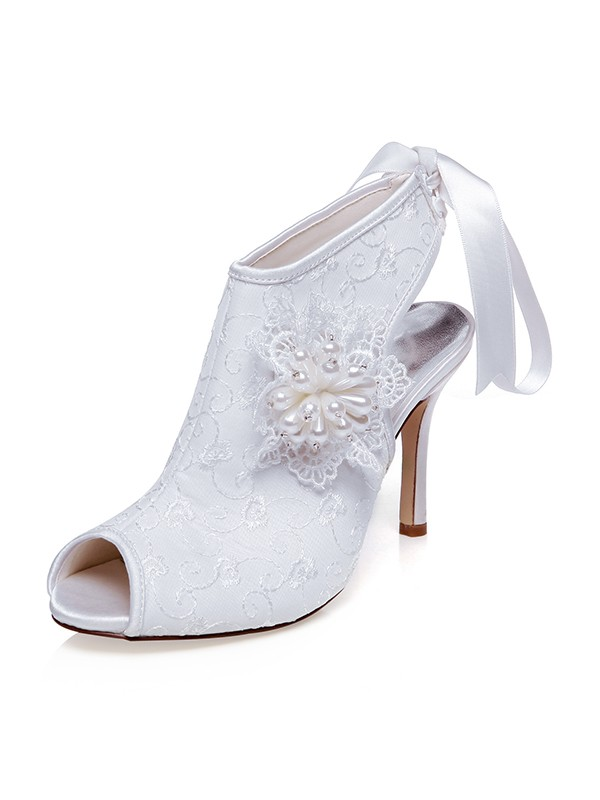 Women's Satin Peep Toe Flower Stiletto Heel Wedding Shoes