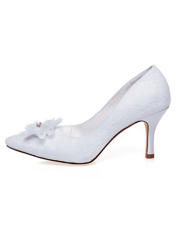 Women's Satin Closed Toe Flower Spool Heel Wedding Shoes