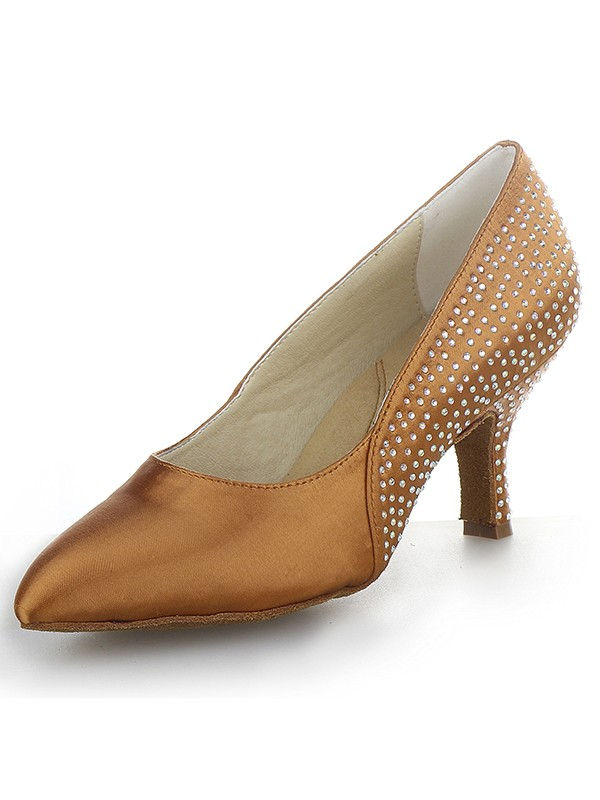 Women's Cone Heel Satin Closed Toe With Rhinestone High Heels