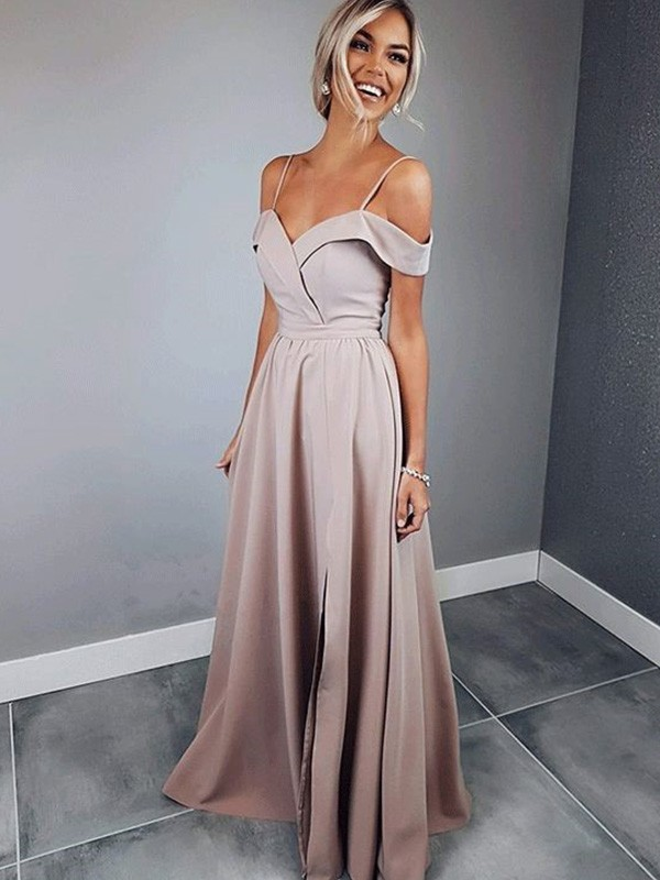 A-Line Spaghetti Straps Short Sleeves Floor-Length Satin Dress