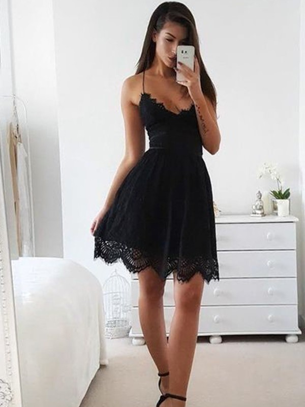 A-Line Lace Spaghetti Straps Sleeveless Short/Mini Dress