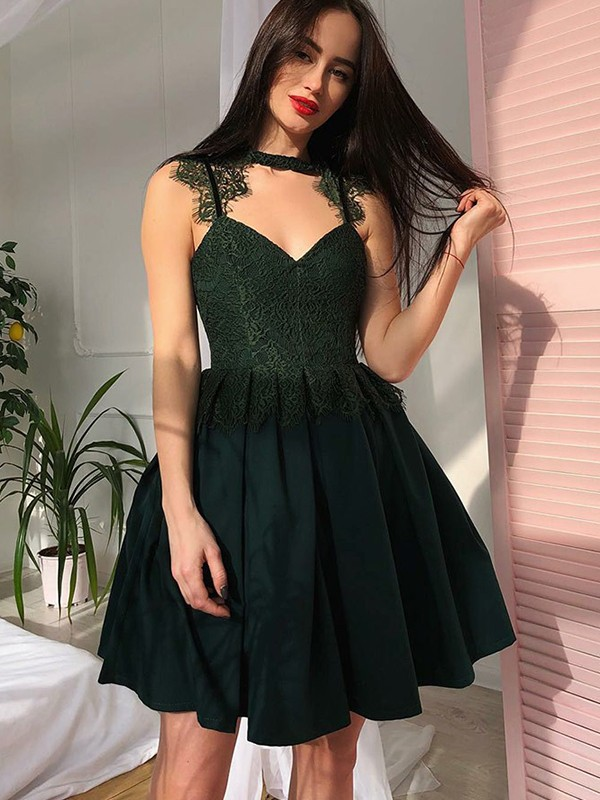 A-Line V-Neck Lace Sleeveless Satin Short/Mini Dress
