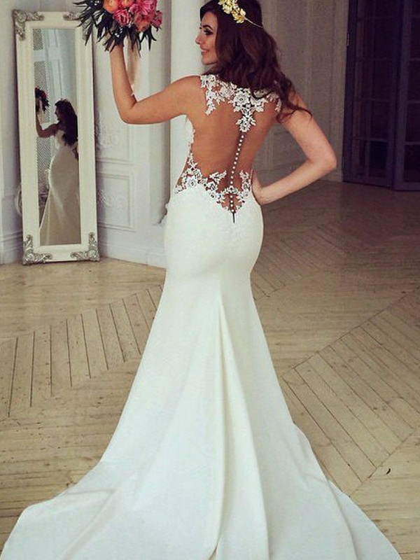 Mermaid Scoop Sleeveless Sweep/Brush Train Lace Wedding Dress