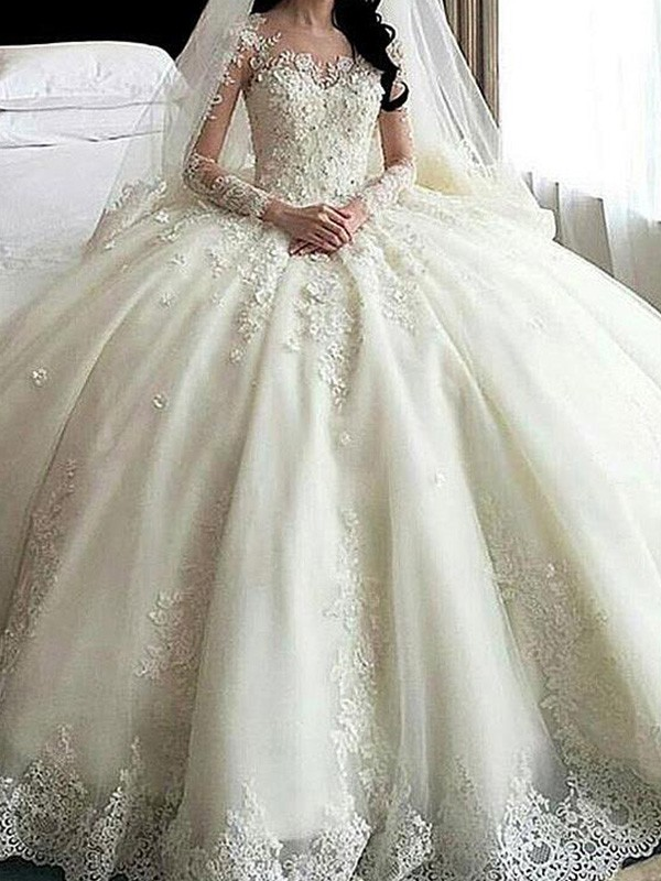 Ball Gown Scoop Cathedral Train Long Sleeves Lace Tulle Wedding Dress