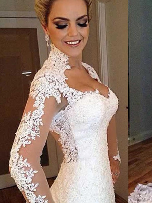 Mermaid Long Sleeves V-neck Sweep/Brush Train Lace Wedding Dress