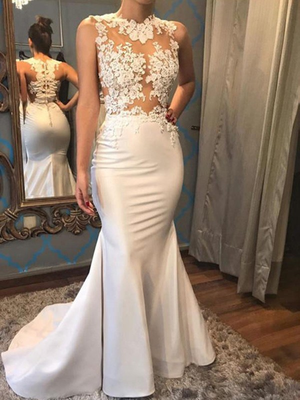 Mermaid Sleeveless Scoop Court Train Satin Wedding Dress