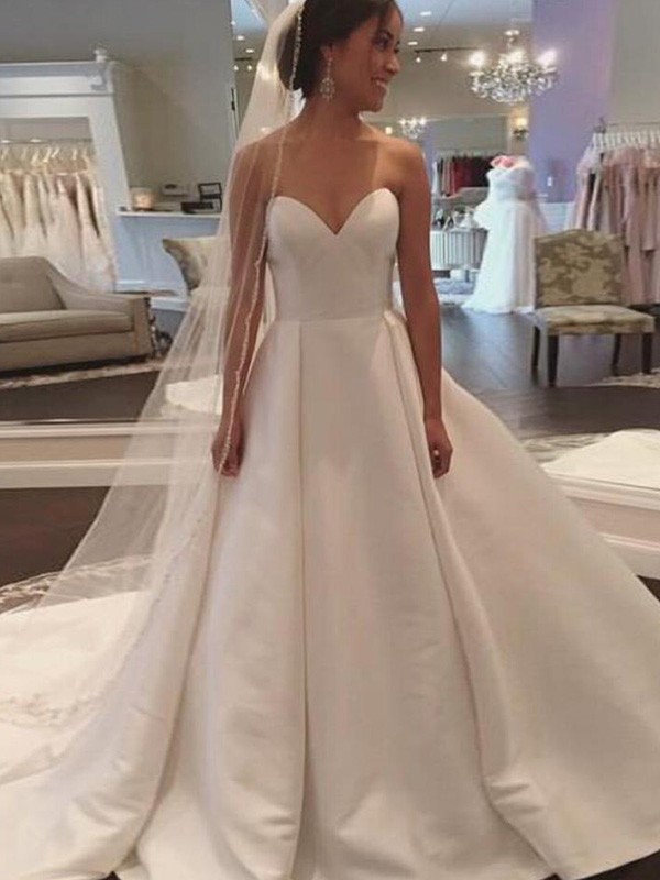 Ball Gown Sleeveless Sweetheart Court Train Satin Wedding Dress