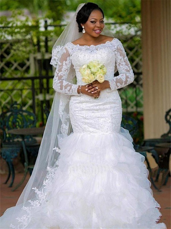 Mermaid Square Organza Long Sleeves Chapel Train Wedding Dress