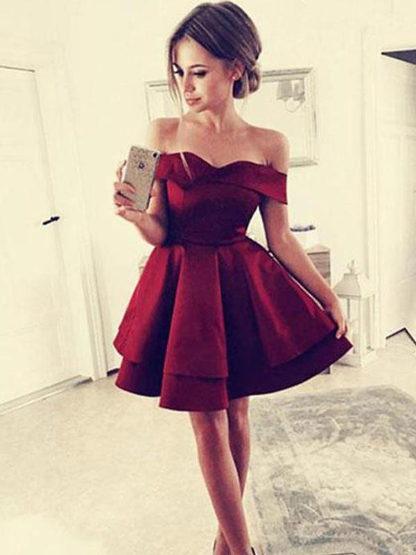 A-Line Satin Off-the-Shoulder Sleeveless Short Dress