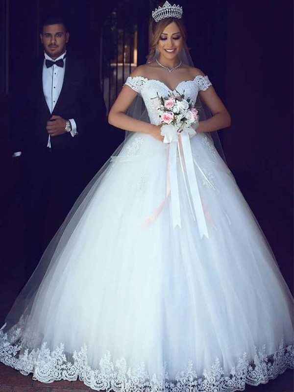 Ball Gown Off-the-Shoulder Sleeveless Floor-Length Lace Tulle Wedding Dresses