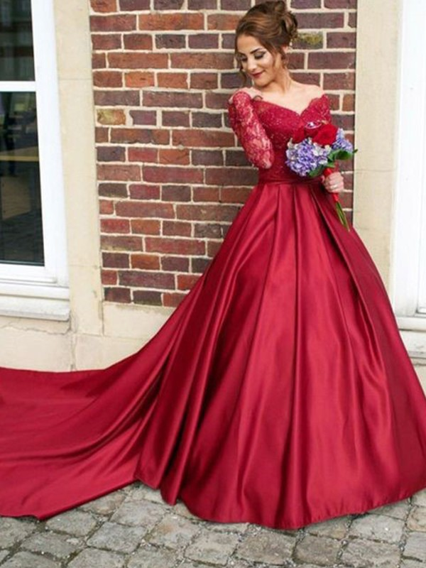 A-Line V-neck Long Sleeves Sweep/Brush Train Lace Satin Dresses