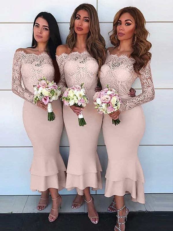 Sheath/Column Off-the-Shoulder Long Sleeves Ankle-Length Chiffon Bridesmaid Dresses