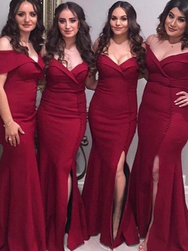 Sheath/Column Off-the-Shoulder Sleeveless Floor-Length Satin Bridesmaid Dresses
