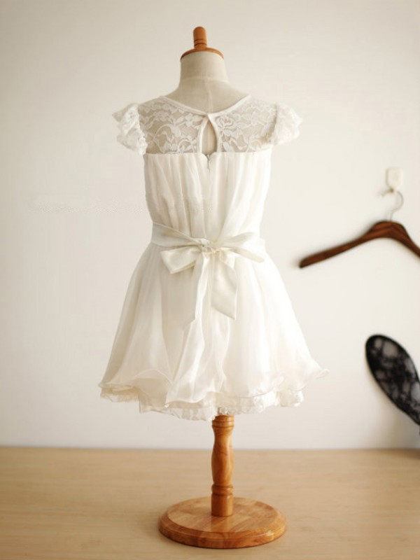 A-line Scoop Knee-Length Chiffon Flower Girl Dress